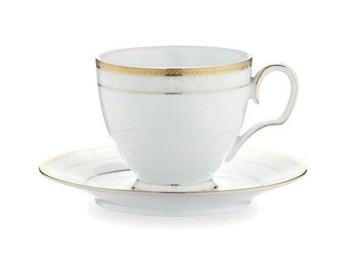 """Чашка чайная с блюдцем 250мл Noritake """"Хэмпшир, золотой кант"""""""
