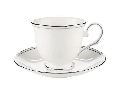 """Чашка чайная с блюдцем Lenox """"Федеральный, платиновый кант"""" 180 мл"""