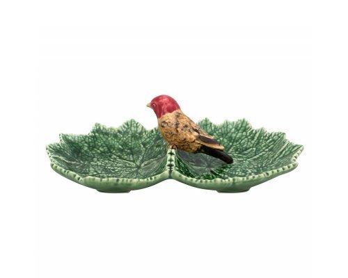 Блюдо двухсекционное Bordallo Pinheiro Листья 22см с красной птичкой