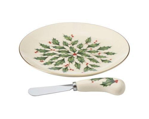 """Блюдо для сыра с ножом Lenox """"Новогодние праздники"""" 17см"""