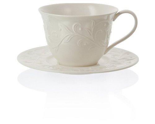 """Чашка чайная с блюдцем 350мл Lenox """"Чистый опал, рельеф"""""""