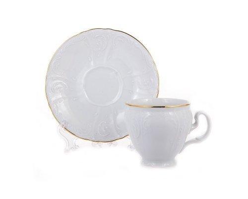 Набор кофейных пар Bernadotte Белый узор 90 мл (6 пар)