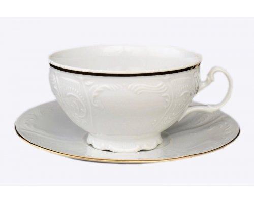 Набор чайных пар Белый узор Bernadotte 360 мл (6 пар)