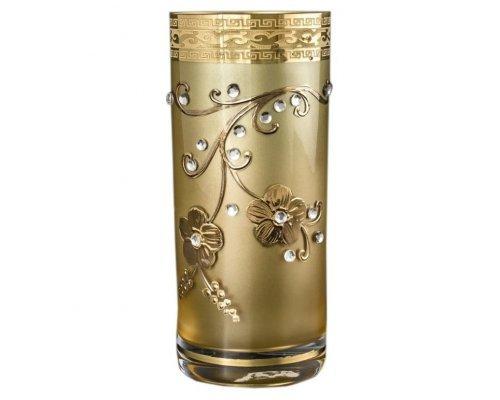 Набор стаканов для воды 300 мл Богемия Кристал (Bohemia Crystal) Лист с камнями M-H фон золотой