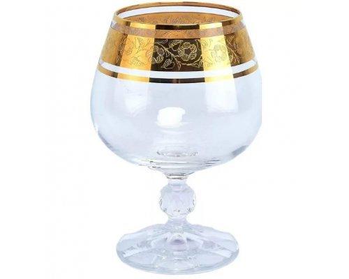 Набор бокалов для бренди 250 мл Клаудиа Золото V-D Crystalite Bohemia (6 шт)