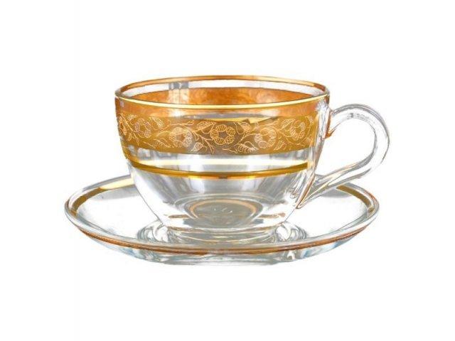 Набор чайных пар Клаудиа Золото Crystalite Bohemia (6 пар)