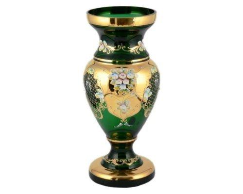 Ваза 35 см Bohemia (Богемия) Лепка Зеленая E-V