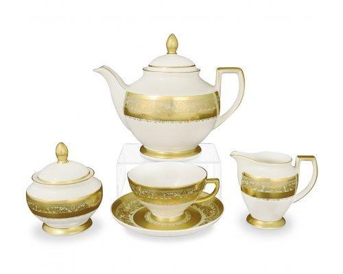 Чайный сервиз на 6 персон 17 предметов Falkenporzellan Cream Gold 9077