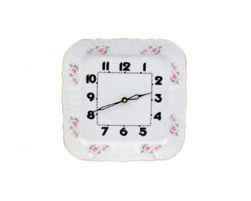 Часы квадратные 26 см Бернадотт Серая роза золото