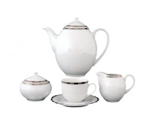 Кофейный сервиз на 6 персон 17 предметов Тхун (Thun) Опал Платиновые пластинки