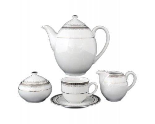 Кофейный сервиз на 6 персон 17 предметов Тхун (Thun) Опал Платиновая лента