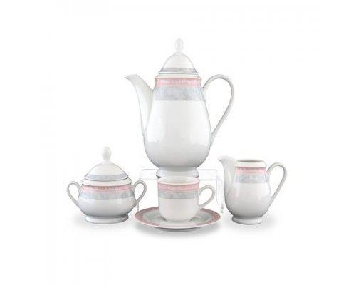 Кофейный сервиз на 6 персон 17 предметов Тхун (Thun) Яна Серый мрамор с розовым кантом