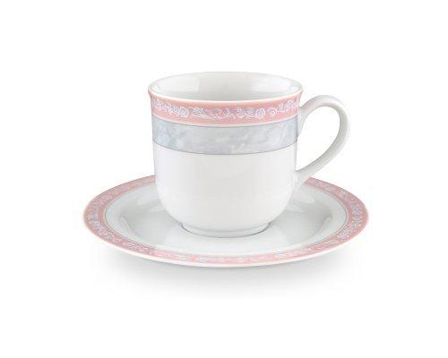 Набор кофейных пар 160 мл Тхун (Thun) Яна Серый мрамор с розовым кантом (6 пар)