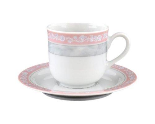 Набор кофейных пар 110 мл Тхун (Thun) Яна Серый мрамор с розовым кантом (6 пар)