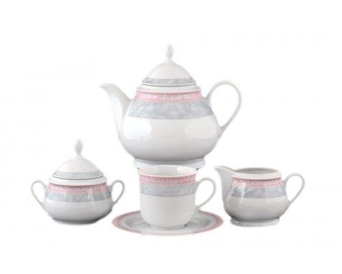 Чайный сервиз на 6 персон 17 предметов Тхун (Thun) Яна Серый мрамор с розовым кантом