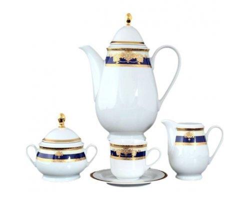 Кофейный сервиз на 6 персон 17 предметов Тхун (Thun) Яна Кобальтовая лента