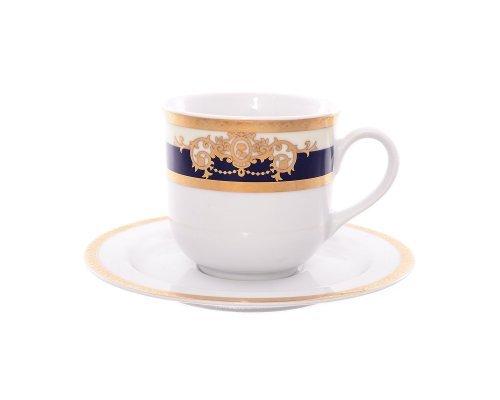 Набор кофейных пар 110 мл Тхун (Thun) Яна Кобальтовая лента (6 пар)
