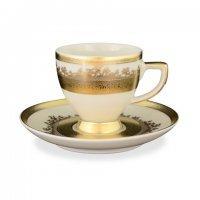 Набор кофейных пар Falkenporzellan Cream Gold 9320 100 мл (6 пар)