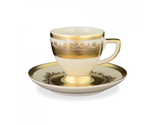 Набор кофейных пар 110 мл Falkenporzellan Cream Gold 9320 (6 пар)