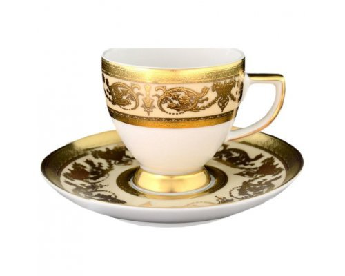 Набор кофейных пар Falkenporzellan Imperial Crem Gold 110 мл (6 пар)