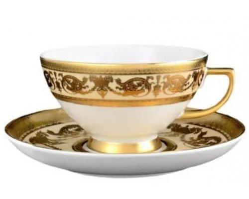 Набор чайных пар 250 мл Falkenporzellan Constanza Crem Imperial Gold (6 пар)