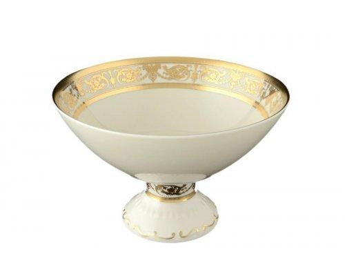 Конфетница 24 см на ножке Falkenporzellan Constanza Cream Imperial Gold