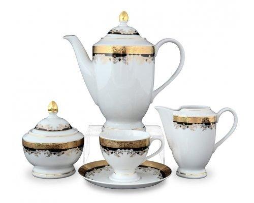 Кофейный сервиз на 6 персон 17 предметов Тхун (Thun) Кристина Черная Лилия