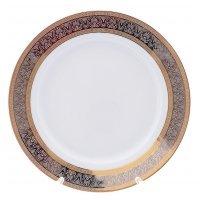 Набор тарелок Опал Широкий кант платина золото Thun 17 см (6 шт)