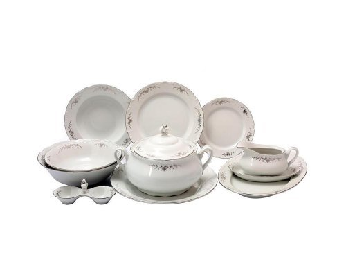 Столовый сервиз на 6 персон 27 предметов Тхун (Thun) Констанция Серый орнамент Отводка платина
