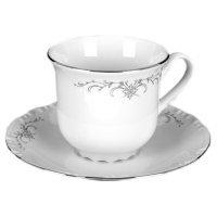 Набор чайных пар Thun Констанция Серый орнамент Отводка платина 230 мл (6 пар)