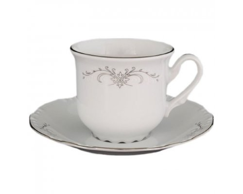Набор кофейных пар Thun Констанция Серый орнамент Отводка платина 160 мл (6 пар)