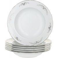 Набор тарелок глубоких 23 см Тхун (Thun) Констанция Серый орнамент Отводка платина (6 шт)
