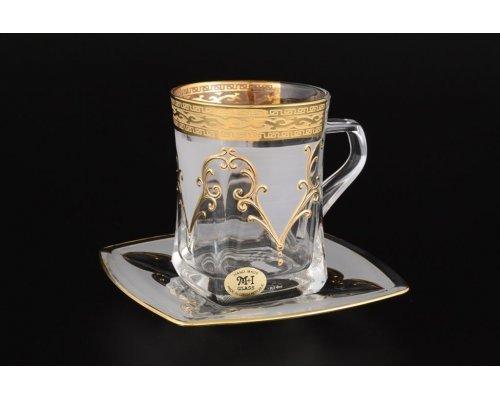 Набор чайных пар 270 мл Версачи U-R фон Богемия Кристал (Bohemia Crystal) (6 пар)