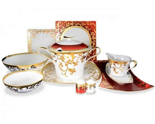 Столовый сервиз на 6 персон 27 предметов Falkenporzellan Tosca Bordeaux Gold