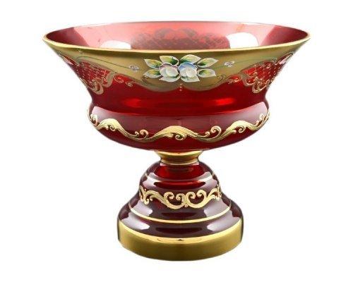 Фруктовница 26 см Bohemia (Богемия) Лепка Красная E-V