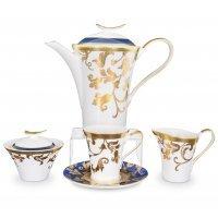 Чайный сервиз на 6 персон 17 предметов Falkenporzellan Tosca Blueshade Gold