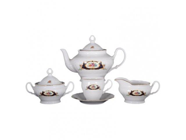 Чайный сервиз на 6 персон 17 предметов (высок) Лиана Синий глаз Старорольский Фарфор (MZ)