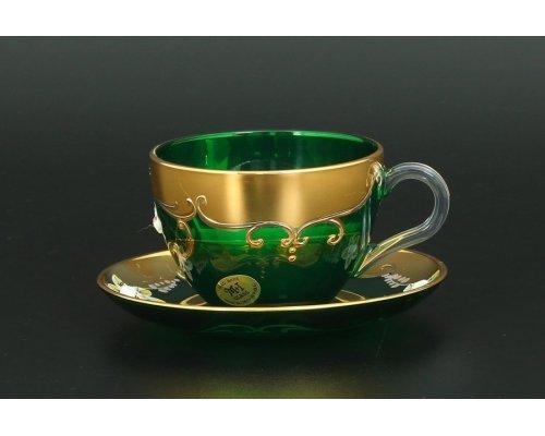Набор чайных пар U-R фон Богемия Кристал (Bohemia Crystal) зеленый (6 пар)