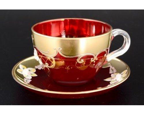 Набор чайных пар U-R фон Богемия Кристал (Bohemia Crystal) красный (6 пар)