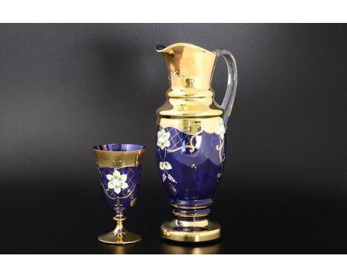 Набор для воды Богемия Кристал (Bohemia Crystal) 7 предметов синий