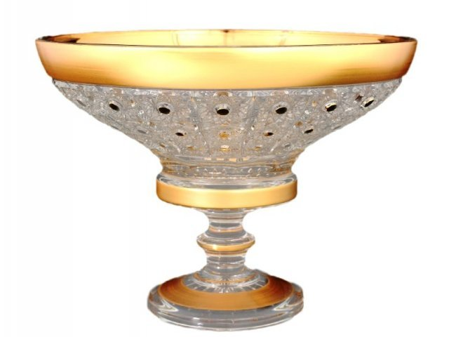 Фруктовница 25 см на ножке Max Crystal Золото Bohemia (Богемия)