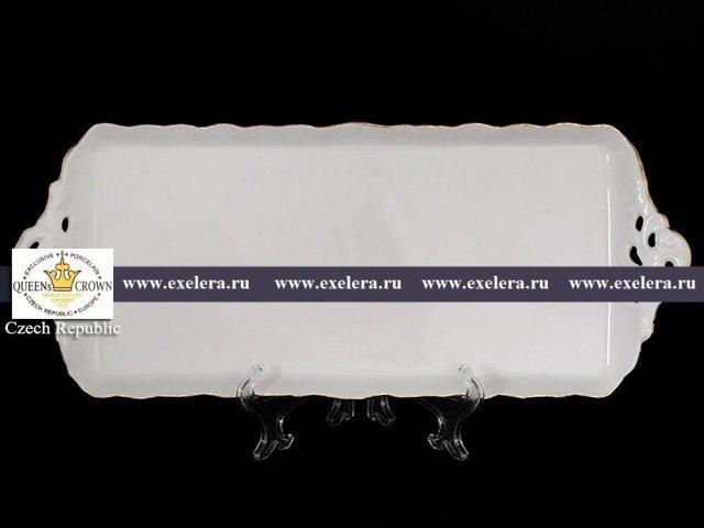 Поднос прямоугольный 40 см Белый узор Корона Queens Crown