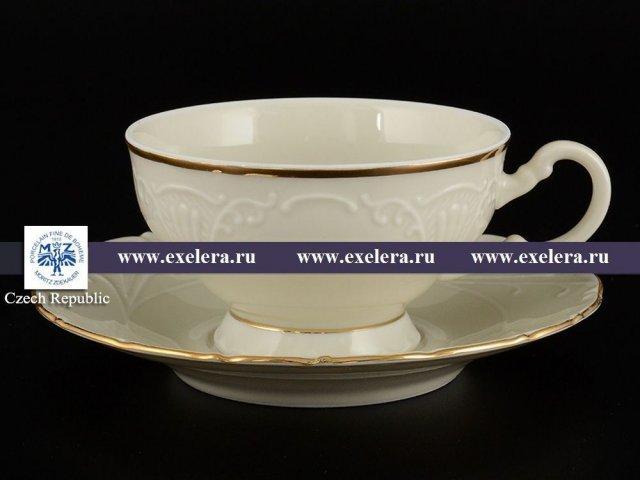 Набор чайных пар 230 мл Лиана Белый узор слоновая кость Старорольский Фарфор (MZ) (6 пар)