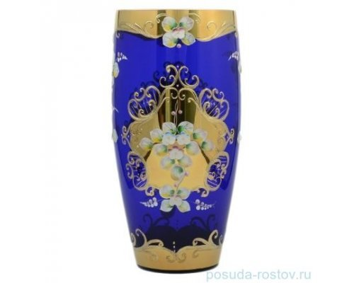 Ваза 30 см Bohemia (Богемия) Лепка Синяя E-V
