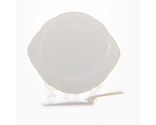 Тарелка для торта 27 см с лопаткой Бернадотт Белый узор
