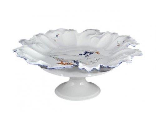 Блюдо фигурное круглое 35 см Гуси Корона Queens Crown