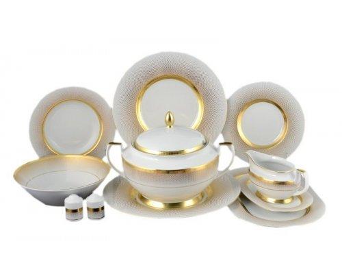 Столовый сервиз на 6 персон 27 предметов Falkenporzellan Rio white gold