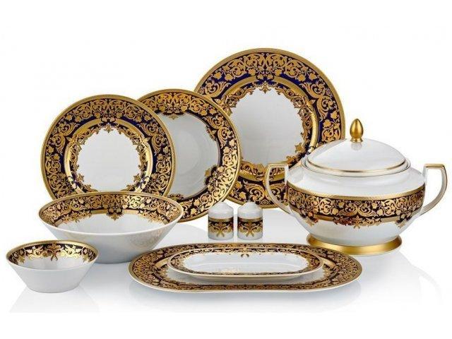 Столовый сервиз на 6 персон 27 предметов Falkenporzellan Natalia cobalt gold