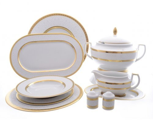Столовый сервиз на 6 персон 27 предметов Falkenporzellan Constanza Diamond White Gold