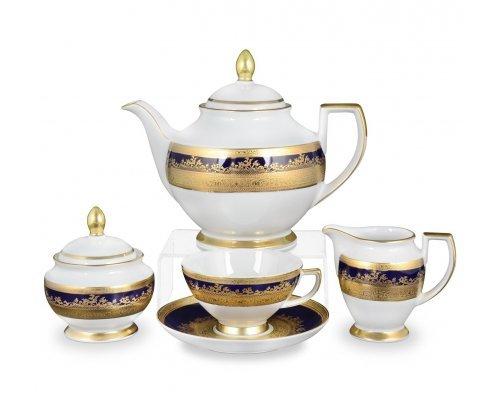 Чайный сервиз на 6 персон 17 предметов Constanza Falkenporzellan Cobalt Gold 9320